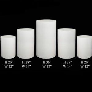 White Cylinder Pillars - Party decor rentals - California