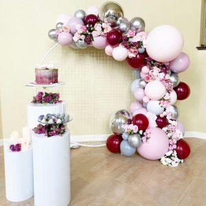 Flower & Balloon On Mesh Backdrop